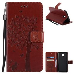 Embossing Butterfly Tree Leather Wallet Case for Samsung Galaxy J7 2017 J730 Eurasian - Brown