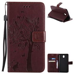 Embossing Butterfly Tree Leather Wallet Case for Samsung Galaxy J7 2017 J730 Eurasian - Coffee