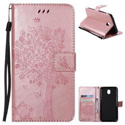 Embossing Butterfly Tree Leather Wallet Case for Samsung Galaxy J7 2017 J730 Eurasian - Rose Pink