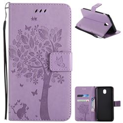 Embossing Butterfly Tree Leather Wallet Case for Samsung Galaxy J7 2017 J730 Eurasian - Violet