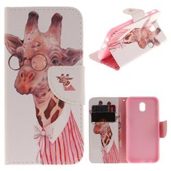Pink Giraffe PU Leather Wallet Case for Samsung Galaxy J7 2017 J730 Eurasian