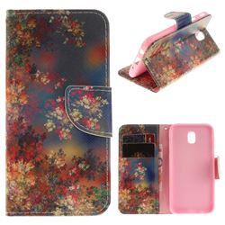 Colored Flowers PU Leather Wallet Case for Samsung Galaxy J7 2017 J730 Eurasian