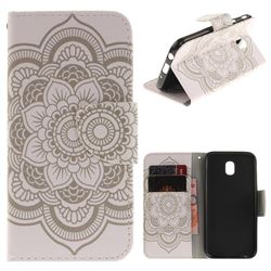 White Flowers PU Leather Wallet Case for Samsung Galaxy J7 2017 J730 Eurasian