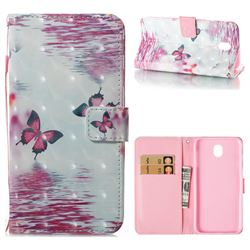 Purple Butterfly 3D Painted Leather Wallet Case for Samsung Galaxy J7 2017 J730 Eurasian
