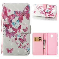 Heart Butterfly 3D Painted Leather Wallet Case for Samsung Galaxy J7 2017 J730 Eurasian