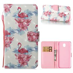 Flamingo and Azaleas 3D Painted Leather Wallet Case for Samsung Galaxy J7 2017 J730 Eurasian