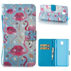 Foraging Flamingo 3D Painted Leather Wallet Case for Samsung Galaxy J7 2017 J730 Eurasian