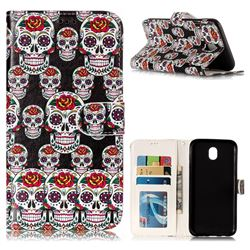 Flower Skull 3D Relief Oil PU Leather Wallet Case for Samsung Galaxy J7 2017 J730 Eurasian
