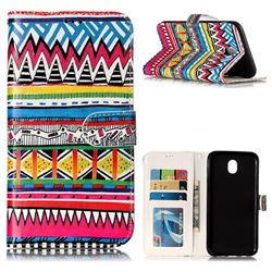 Tribal Pattern 3D Relief Oil PU Leather Wallet Case for Samsung Galaxy J7 2017 J730 Eurasian