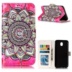 Rose Mandala 3D Relief Oil PU Leather Wallet Case for Samsung Galaxy J7 2017 J730 Eurasian