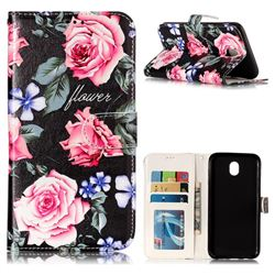 Peony 3D Relief Oil PU Leather Wallet Case for Samsung Galaxy J7 2017 J730 Eurasian