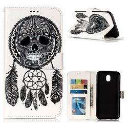 Wind Chimes Skull 3D Relief Oil PU Leather Wallet Case for Samsung Galaxy J7 2017 J730 Eurasian