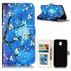 Plum Blossom 3D Relief Oil PU Leather Wallet Case for Samsung Galaxy J7 2017 J730 Eurasian