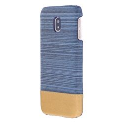 Canvas Cloth Coated Plastic Back Cover for Samsung Galaxy J7 2017 J730 Eurasian - Light Blue