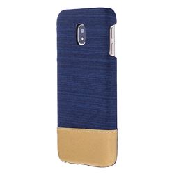 Canvas Cloth Coated Plastic Back Cover for Samsung Galaxy J7 2017 J730 Eurasian - Dark Blue