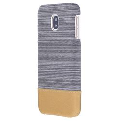 Canvas Cloth Coated Plastic Back Cover for Samsung Galaxy J7 2017 J730 Eurasian - Light Grey