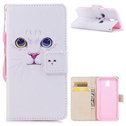White Cat PU Leather Wallet Case for Samsung Galaxy J7 2017 J730 Eurasian