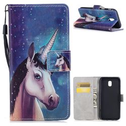 Blue Unicorn PU Leather Wallet Case for Samsung Galaxy J7 2017 J730 Eurasian