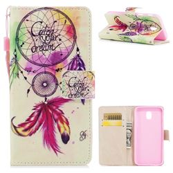 Feather Wind Chimes PU Leather Wallet Case for Samsung Galaxy J7 2017 J730 Eurasian