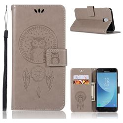 Intricate Embossing Owl Campanula Leather Wallet Case for Samsung Galaxy J7 2017 J730 Eurasian - Grey