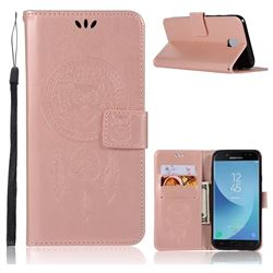 Intricate Embossing Owl Campanula Leather Wallet Case for Samsung Galaxy J7 2017 J730 Eurasian - Rose Gold