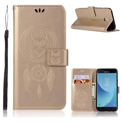 Intricate Embossing Owl Campanula Leather Wallet Case for Samsung Galaxy J7 2017 J730 Eurasian - Champagne
