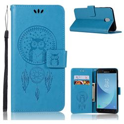 Intricate Embossing Owl Campanula Leather Wallet Case for Samsung Galaxy J7 2017 J730 Eurasian - Blue
