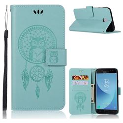 Intricate Embossing Owl Campanula Leather Wallet Case for Samsung Galaxy J7 2017 J730 Eurasian - Green