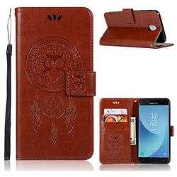 Intricate Embossing Owl Campanula Leather Wallet Case for Samsung Galaxy J7 2017 J730 Eurasian - Brown