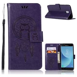 Intricate Embossing Owl Campanula Leather Wallet Case for Samsung Galaxy J7 2017 J730 Eurasian - Purple