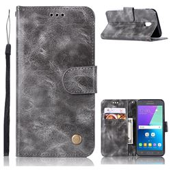 Luxury Retro Leather Wallet Case for Samsung Galaxy J7 2017 J730 Eurasian - Gray