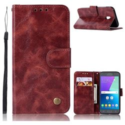 Luxury Retro Leather Wallet Case for Samsung Galaxy J7 2017 J730 Eurasian - Wine Red