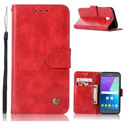 Luxury Retro Leather Wallet Case for Samsung Galaxy J7 2017 J730 Eurasian - Red