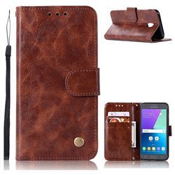 Luxury Retro Leather Wallet Case for Samsung Galaxy J7 2017 J730 Eurasian - Brown