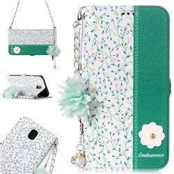 Magnolia Endeavour Florid Pearl Flower Pendant Metal Strap PU Leather Wallet Case for Samsung Galaxy J7 2017 J730 Eurasian