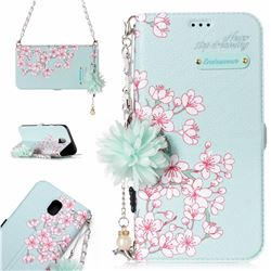 Cherry Blossoms Endeavour Florid Pearl Flower Pendant Metal Strap PU Leather Wallet Case for Samsung Galaxy J7 2017 J730 Eurasian