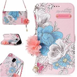 Pink Blue Rose Endeavour Florid Pearl Flower Pendant Metal Strap PU Leather Wallet Case for Samsung Galaxy J7 2017 J730 Eurasian