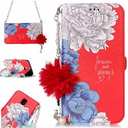Red Chrysanthemum Endeavour Florid Pearl Flower Pendant Metal Strap PU Leather Wallet Case for Samsung Galaxy J7 2017 J730 Eurasian