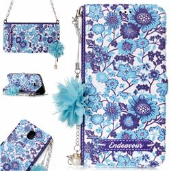 Blue-and-White Endeavour Florid Pearl Flower Pendant Metal Strap PU Leather Wallet Case for Samsung Galaxy J7 2017 J730 Eurasian