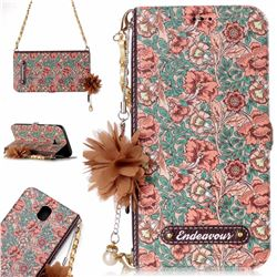 Impatiens Endeavour Florid Pearl Flower Pendant Metal Strap PU Leather Wallet Case for Samsung Galaxy J7 2017 J730 Eurasian