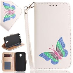 Imprint Embossing Butterfly Leather Wallet Case for Samsung Galaxy J7 2017 J730 Eurasian - White