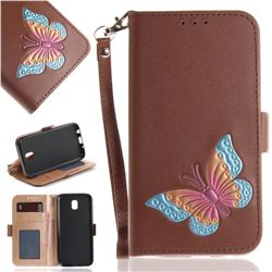 Imprint Embossing Butterfly Leather Wallet Case for Samsung Galaxy J7 2017 J730 Eurasian - Brown