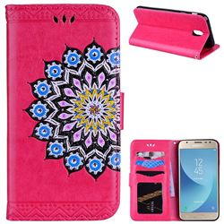 Datura Flowers Flash Powder Leather Wallet Holster Case for Samsung Galaxy J7 2017 J730 Eurasian - Rose