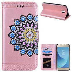 Datura Flowers Flash Powder Leather Wallet Holster Case for Samsung Galaxy J7 2017 J730 Eurasian - Pink