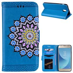 Datura Flowers Flash Powder Leather Wallet Holster Case for Samsung Galaxy J7 2017 J730 Eurasian - Blue