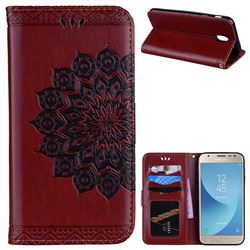 Datura Flowers Flash Powder Leather Wallet Holster Case for Samsung Galaxy J7 2017 J730 Eurasian - Brown