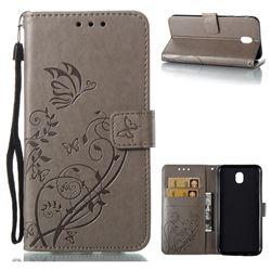 Embossing Butterfly Flower Leather Wallet Case for Samsung Galaxy J7 2017 J730 Eurasian - Grey