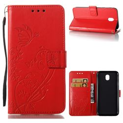 Embossing Butterfly Flower Leather Wallet Case for Samsung Galaxy J7 2017 J730 Eurasian - Red