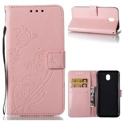 Embossing Butterfly Flower Leather Wallet Case for Samsung Galaxy J7 2017 J730 Eurasian - Pink