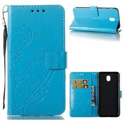 Embossing Butterfly Flower Leather Wallet Case for Samsung Galaxy J7 2017 J730 Eurasian - Blue